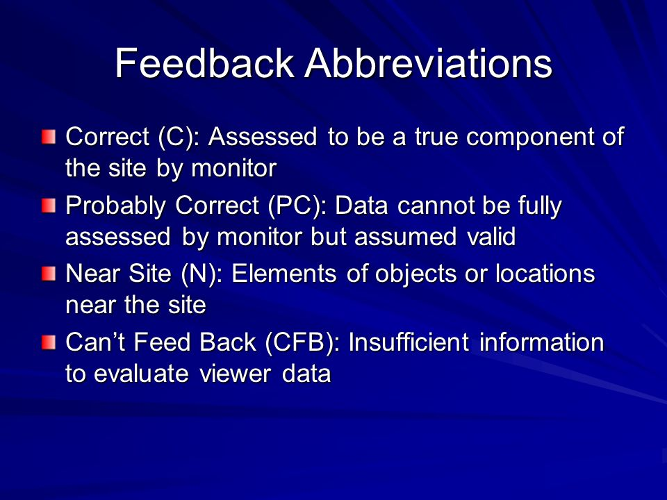 Feedback Abbreviations
