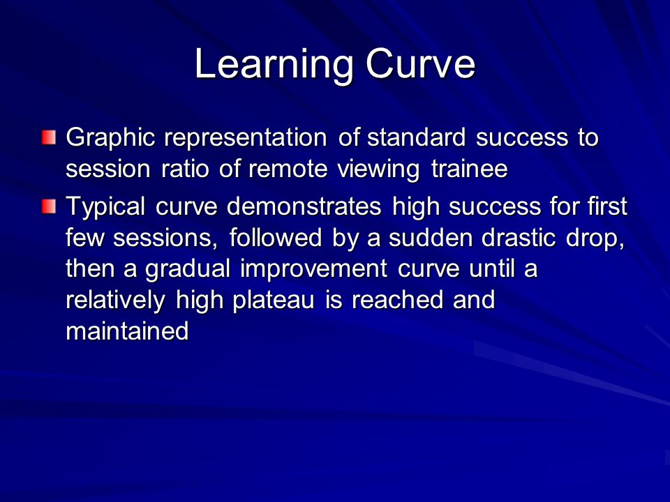Learning Curve Graphic representation of standard success to session ratio of remote viewing trainee.