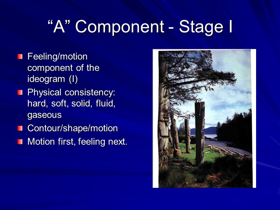 A Component - Stage I Feeling/motion component of the ideogram (I)