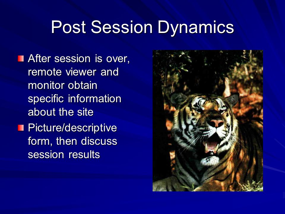 Post Session Dynamics After session is over, remote viewer and monitor obtain specific information about the site.