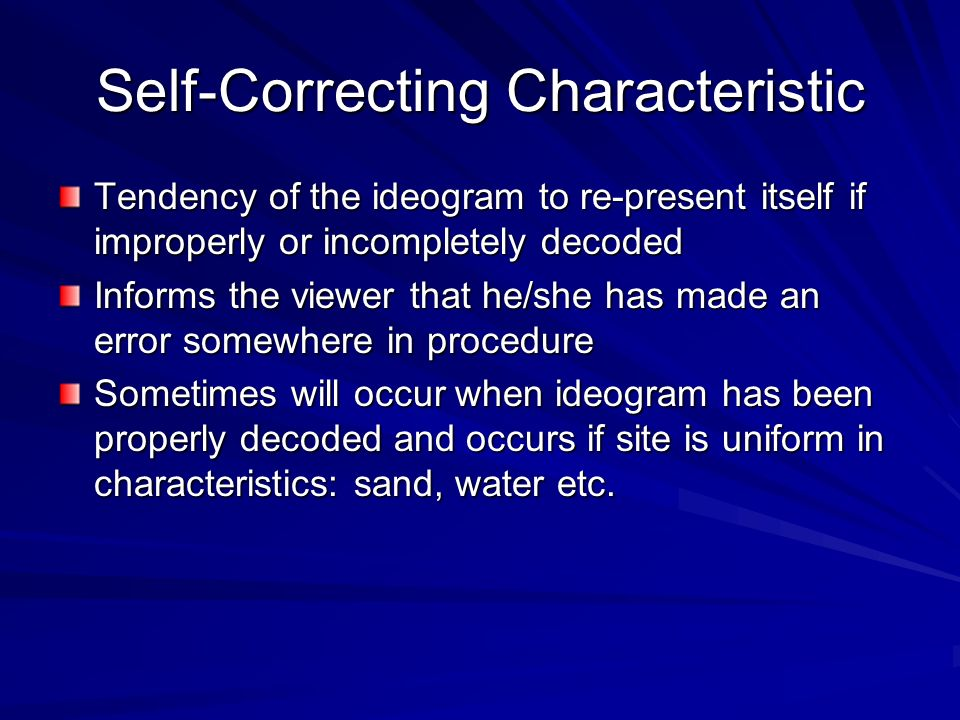 Self-Correcting Characteristic