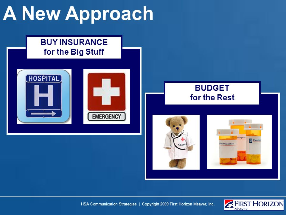A New Approach BUY INSURANCE for the Big Stuff BUDGET for the Rest
