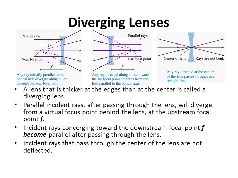 Diverging Lenses A lens that is thicker at the edges than at the center is called a diverging lens.