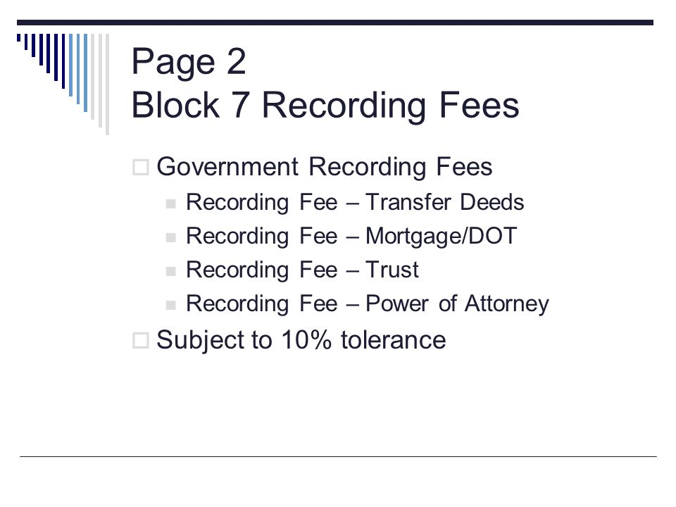 Page 2 Block 7 Recording Fees