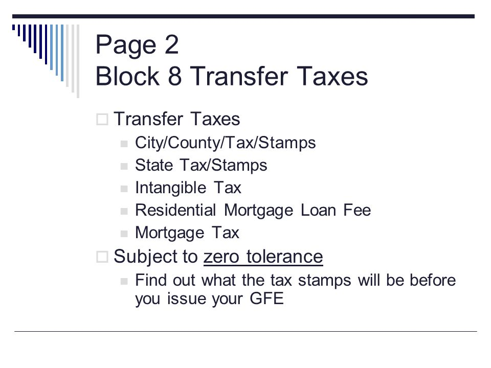 Page 2 Block 8 Transfer Taxes