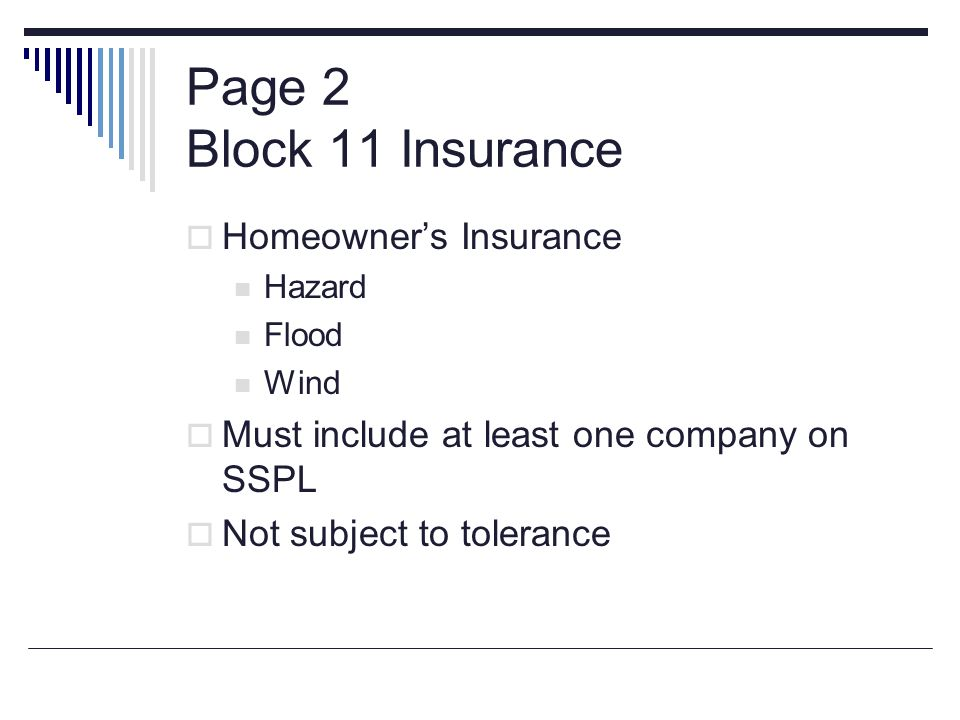 Page 2 Block 11 Insurance Homeowner's Insurance