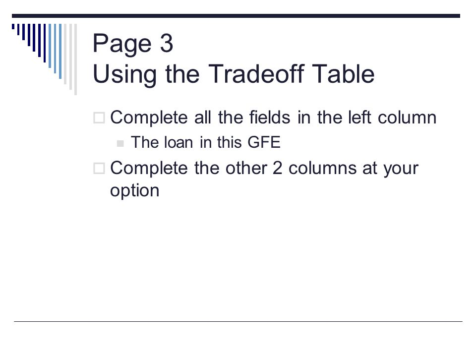 Page 3 Using the Tradeoff Table