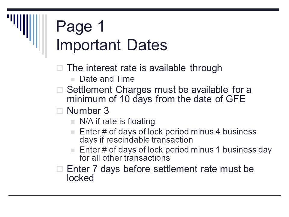 Page 1 Important Dates The interest rate is available through