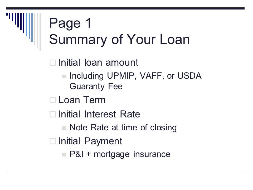 Page 1 Summary of Your Loan
