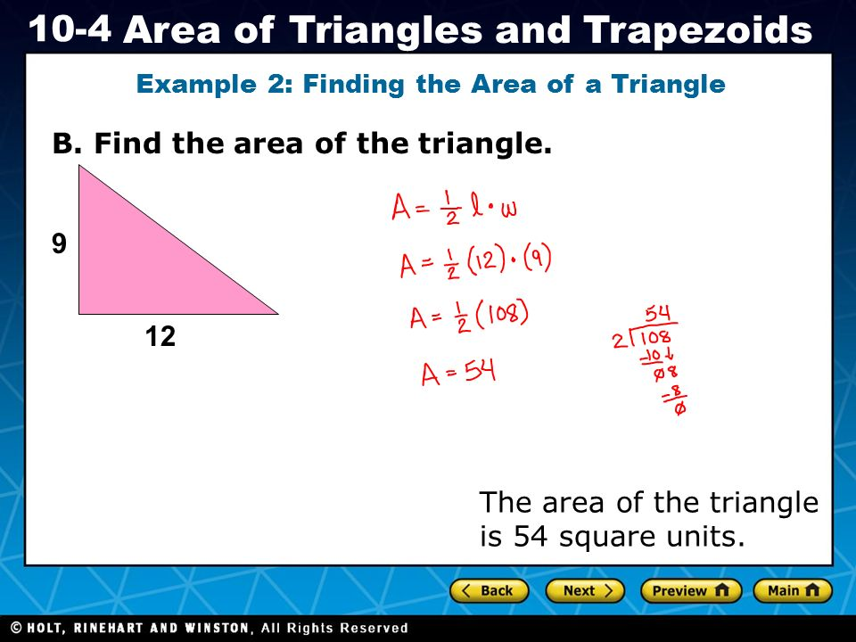 Example 2: Finding the Area of a Triangle