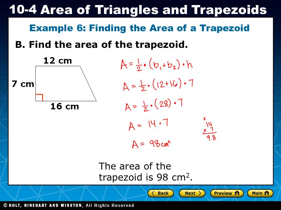 Example 6: Finding the Area of a Trapezoid