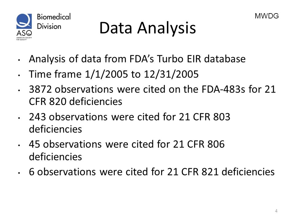 Data Analysis Analysis of data from FDA's Turbo EIR database