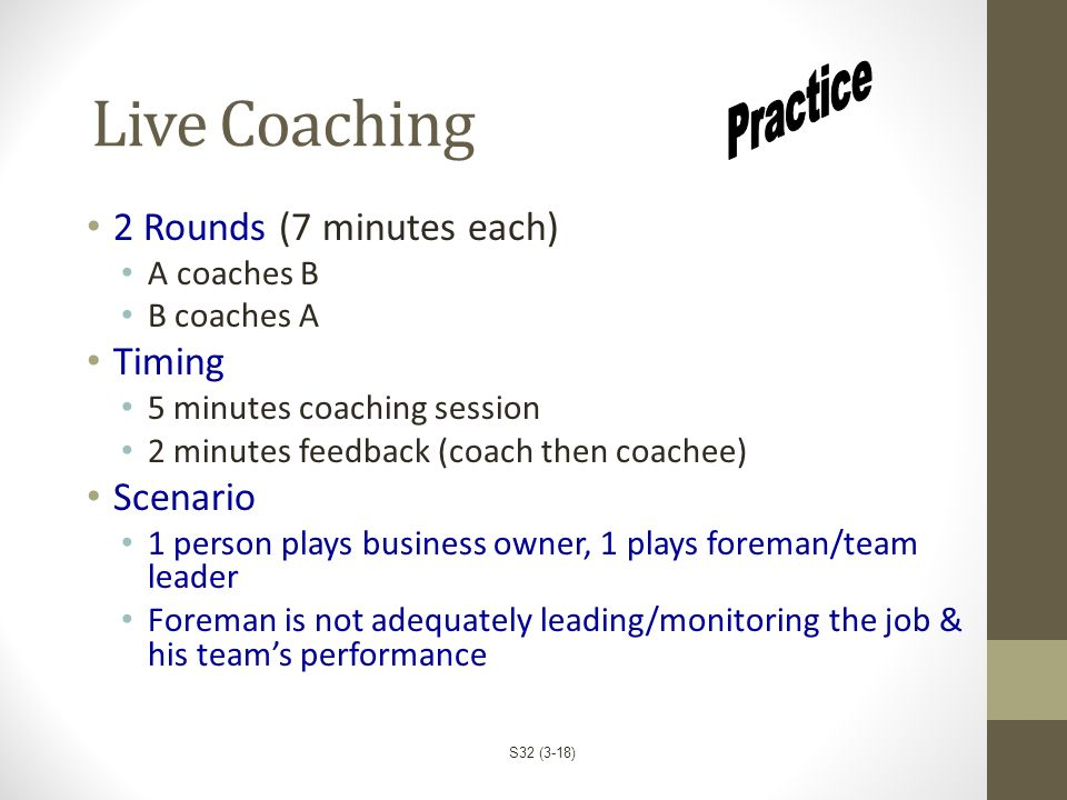 Live Coaching Practice 2 Rounds (7 minutes each) Timing Scenario