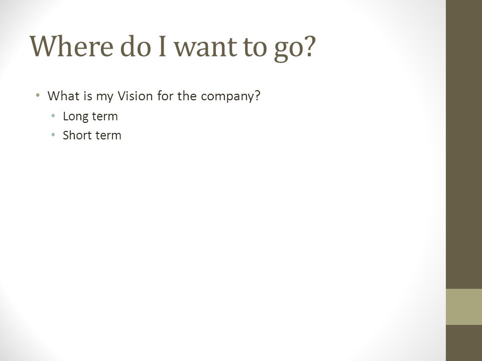 Where do I want to go What is my Vision for the company Long term