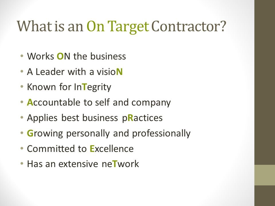 What is an On Target Contractor