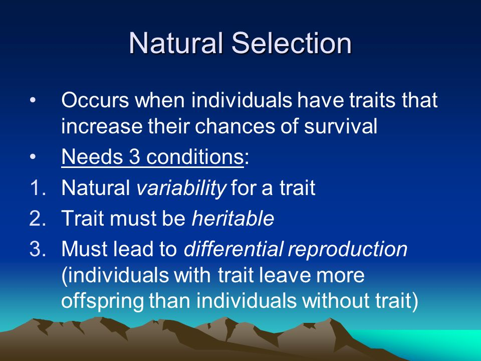 Natural Selection Occurs when individuals have traits that increase their chances of survival. Needs 3 conditions: