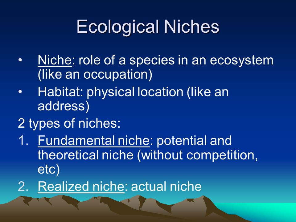 Ecological Niches Niche: role of a species in an ecosystem (like an occupation) Habitat: physical location (like an address)