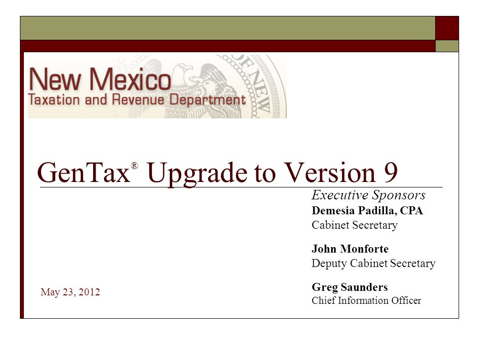 GenTax® Upgrade to Version 9