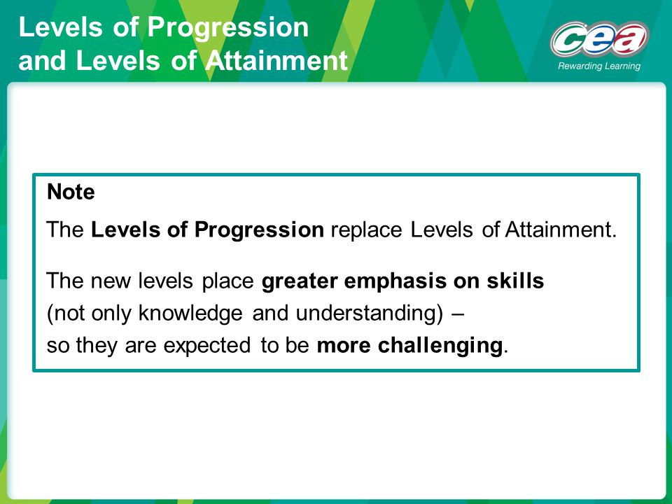 Levels of Progression and Levels of Attainment