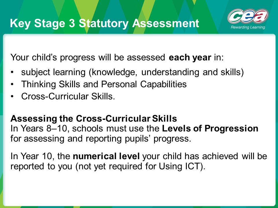 Key Stage 3 Statutory Assessment