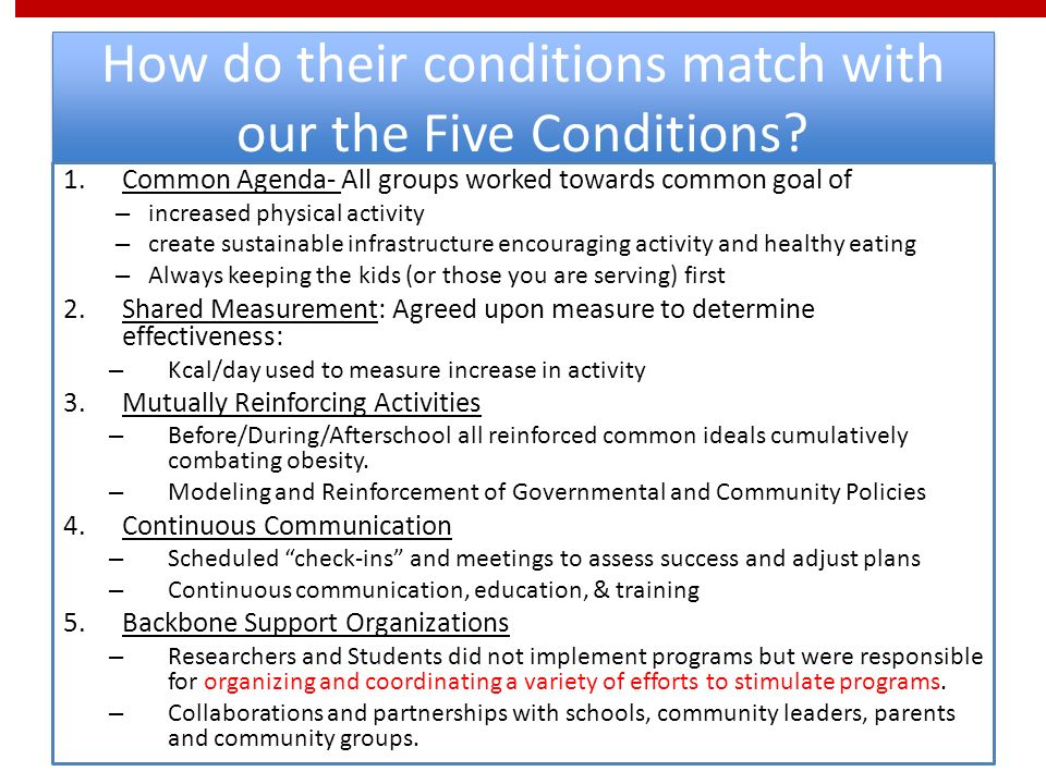 How do their conditions match with our the Five Conditions