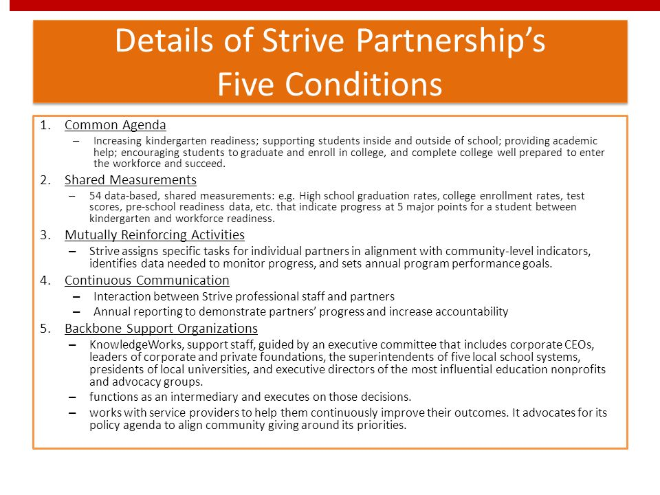 Details of Strive Partnership's Five Conditions