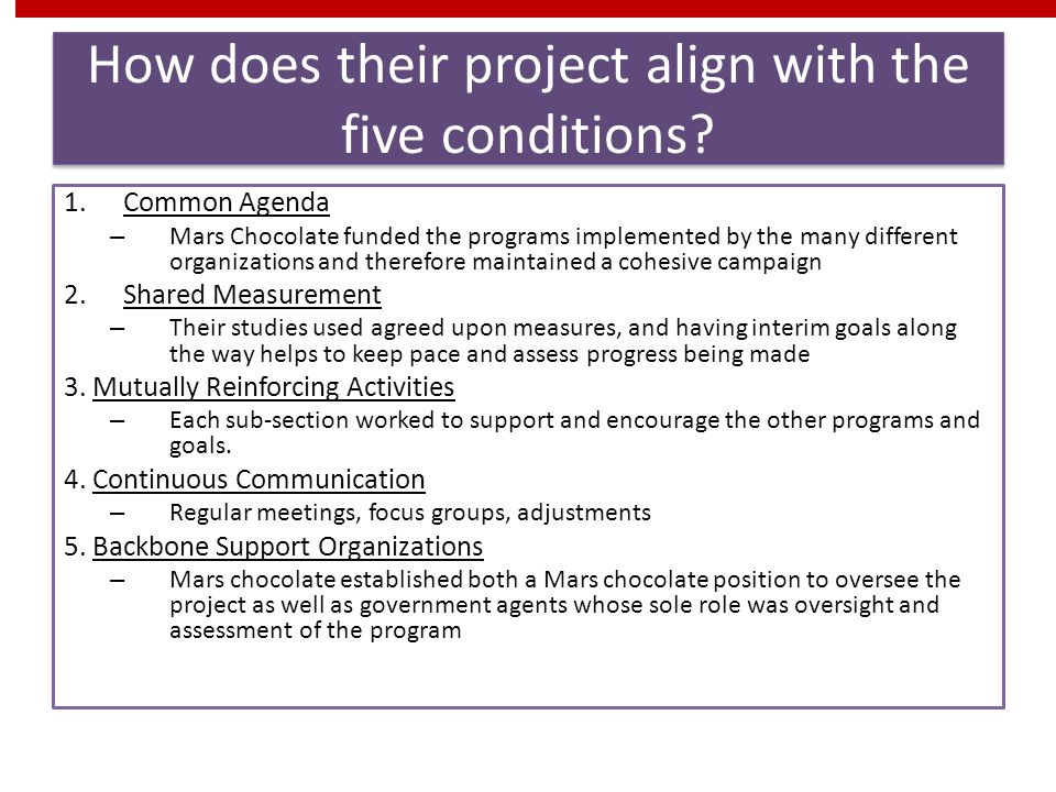 How does their project align with the five conditions