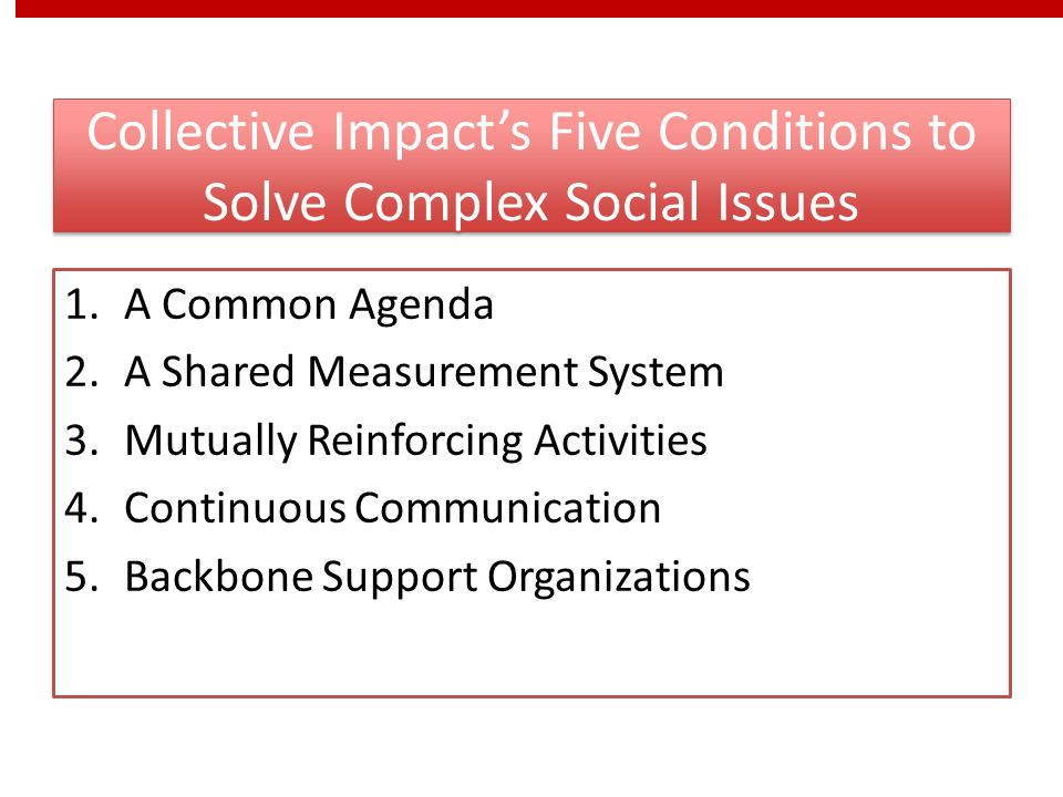 Collective Impact's Five Conditions to Solve Complex Social Issues