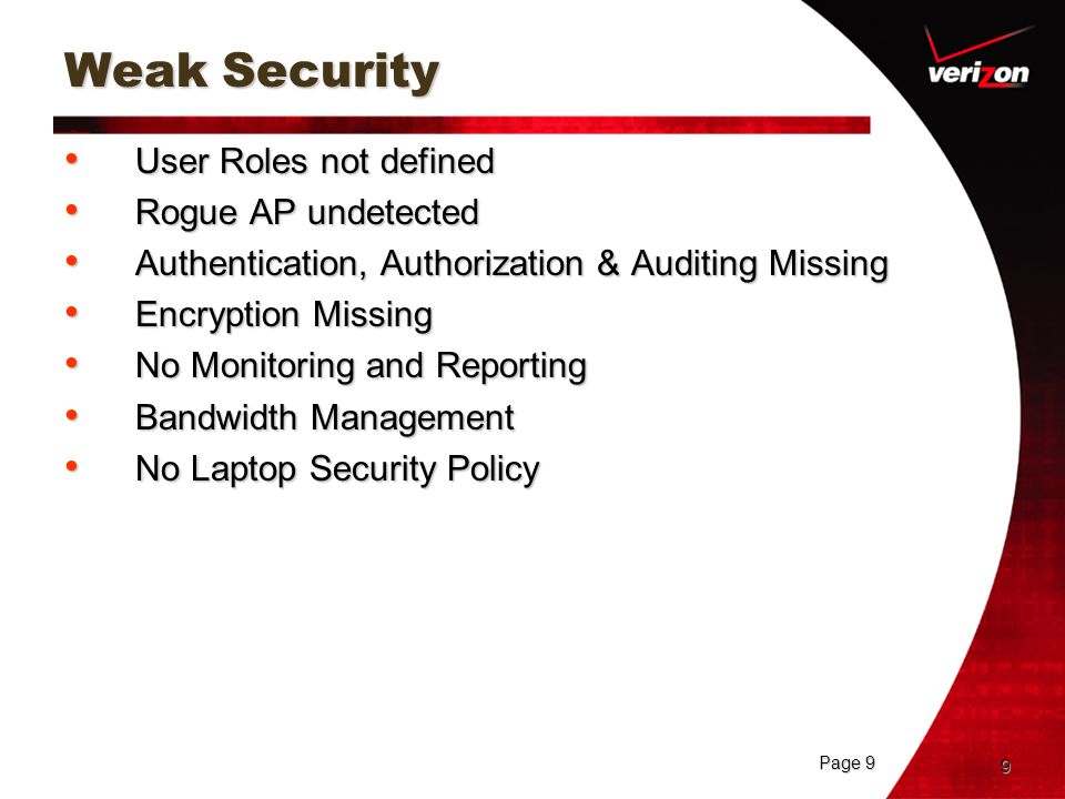 Weak Security User Roles not defined Rogue AP undetected