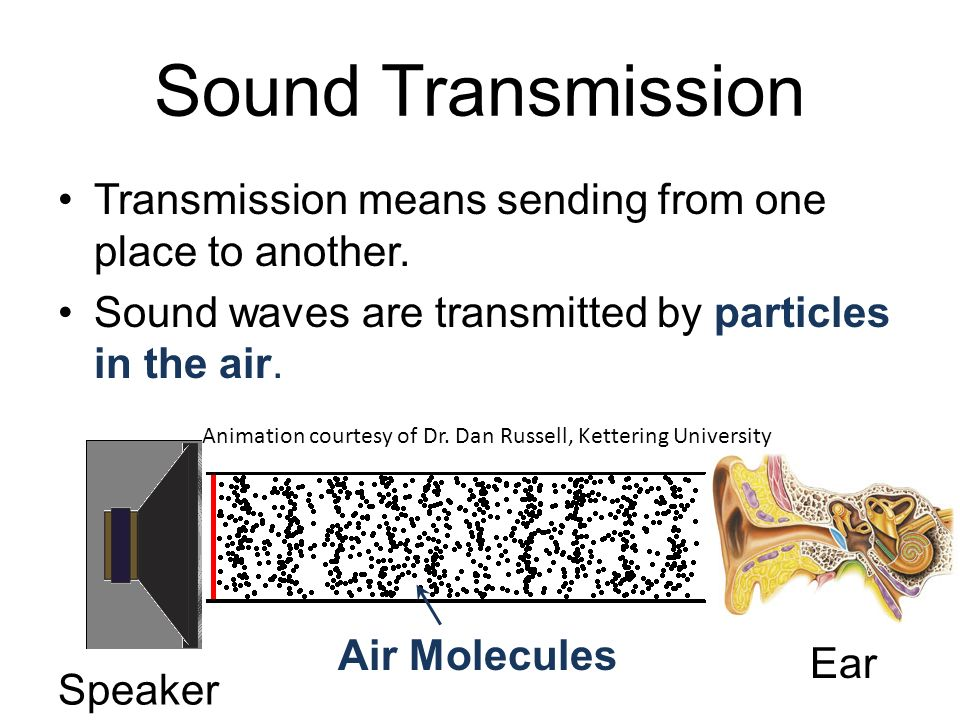 Sound Transmission Transmission means sending from one place to another. Sound waves are transmitted by particles in the air.