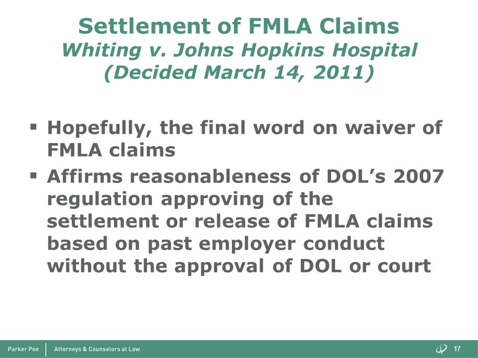 Settlement of FMLA Claims Whiting v