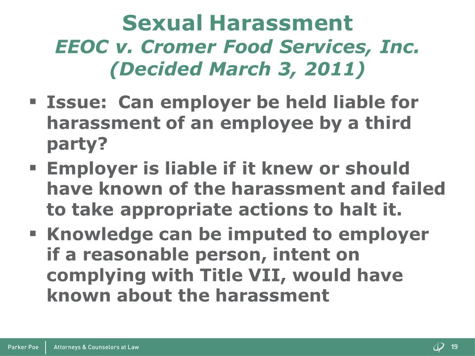 Sexual Harassment EEOC v. Cromer Food Services, Inc