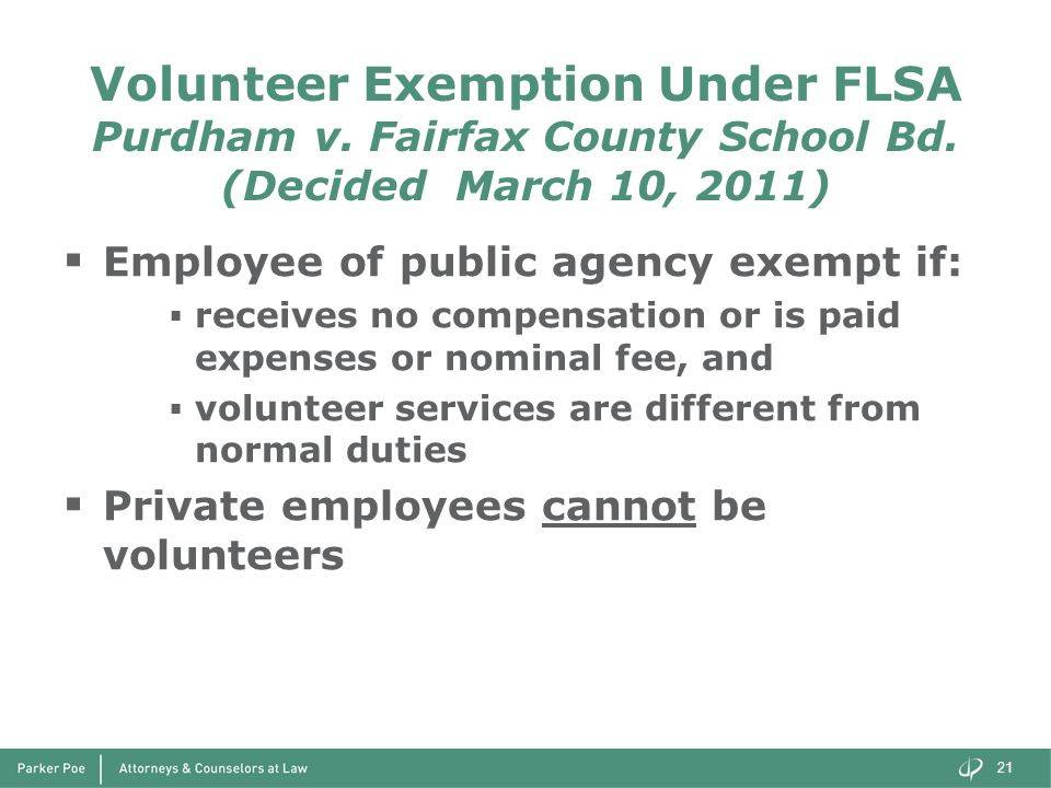 Volunteer Exemption Under FLSA Purdham v. Fairfax County School Bd