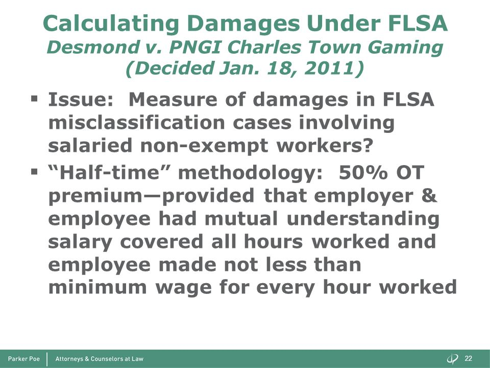 Calculating Damages Under FLSA Desmond v