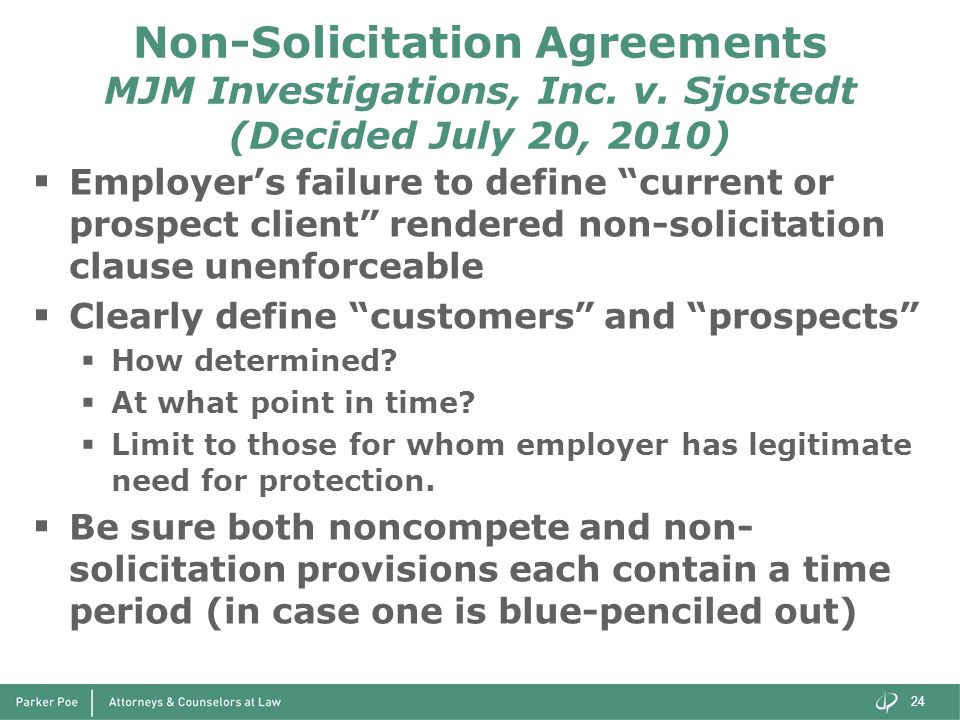 Non-Solicitation Agreements MJM Investigations, Inc. v