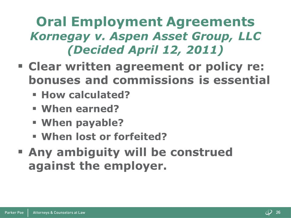Oral Employment Agreements Kornegay v