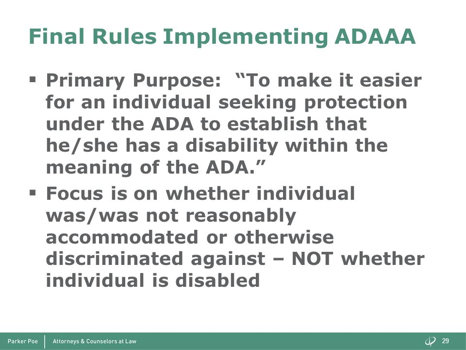 Final Rules Implementing ADAAA