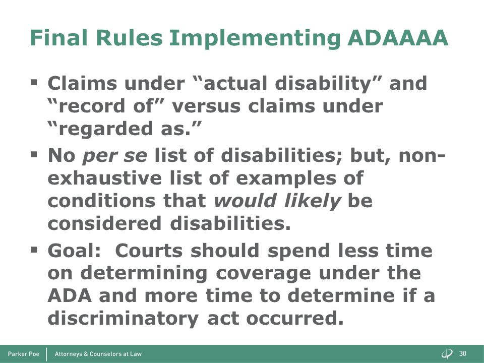 Final Rules Implementing ADAAAA