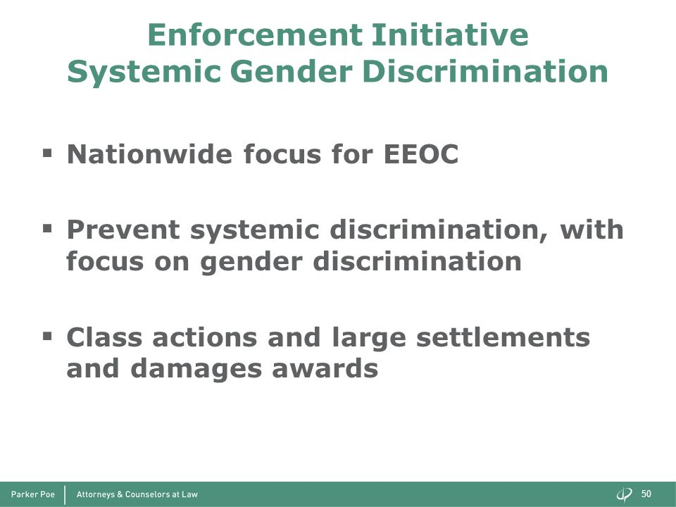 Enforcement Initiative Systemic Gender Discrimination