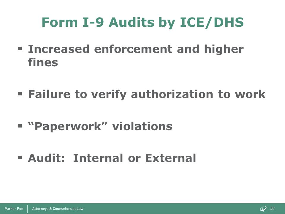Form I-9 Audits by ICE/DHS