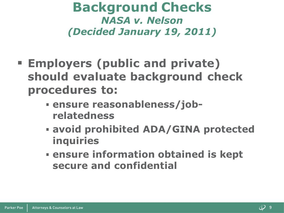 Background Checks NASA v. Nelson (Decided January 19, 2011)