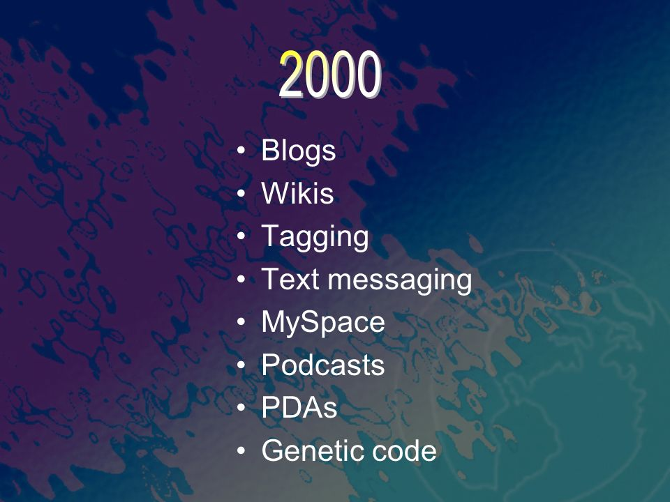 2000 Blogs Wikis Tagging Text messaging MySpace Podcasts PDAs