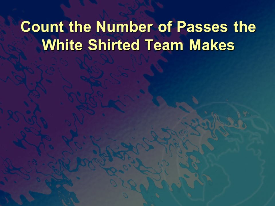 Count the Number of Passes the White Shirted Team Makes