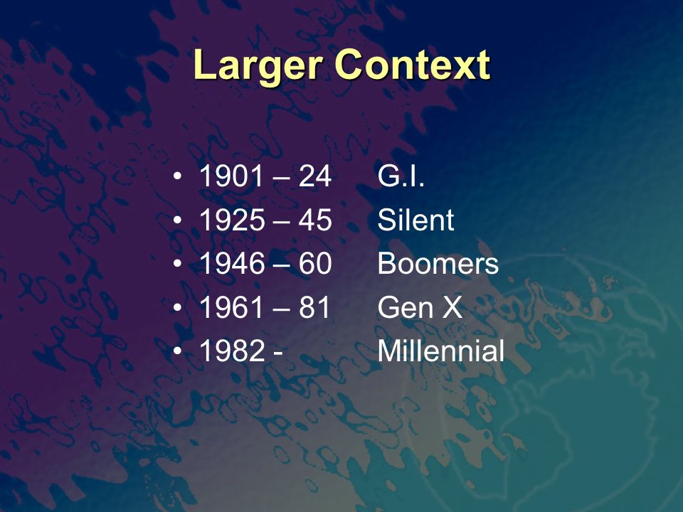 Larger Context 1901 – 24 G.I. 1925 – 45 Silent 1946 – 60 Boomers