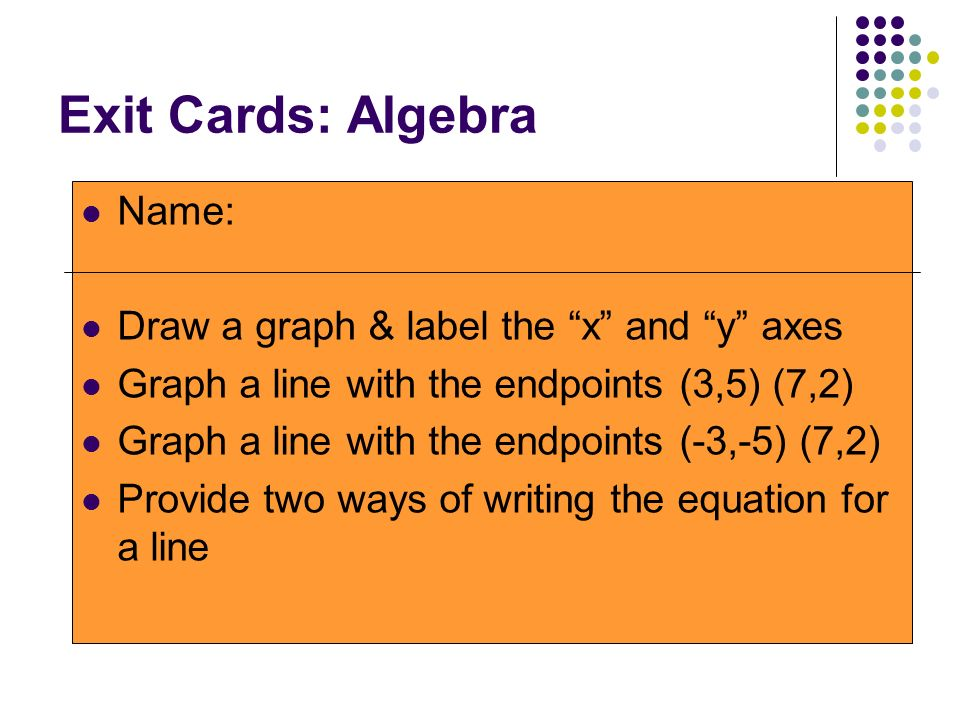Exit Cards: Algebra Name: Draw a graph & label the x and y axes