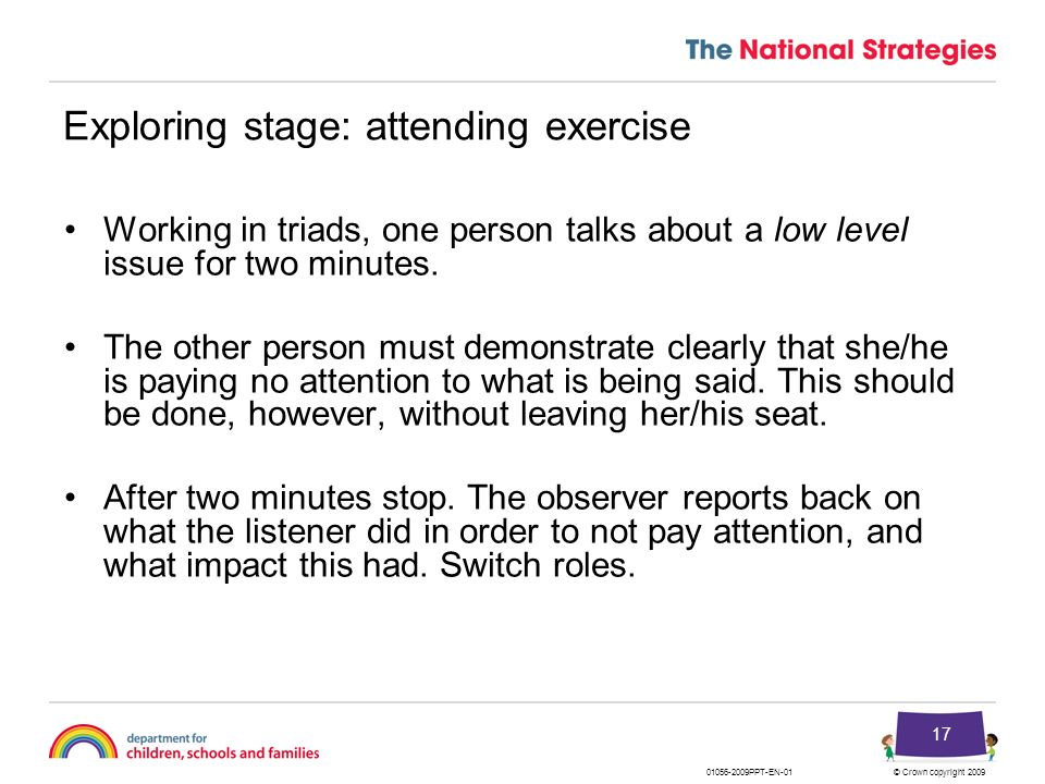 Exploring stage: attending exercise