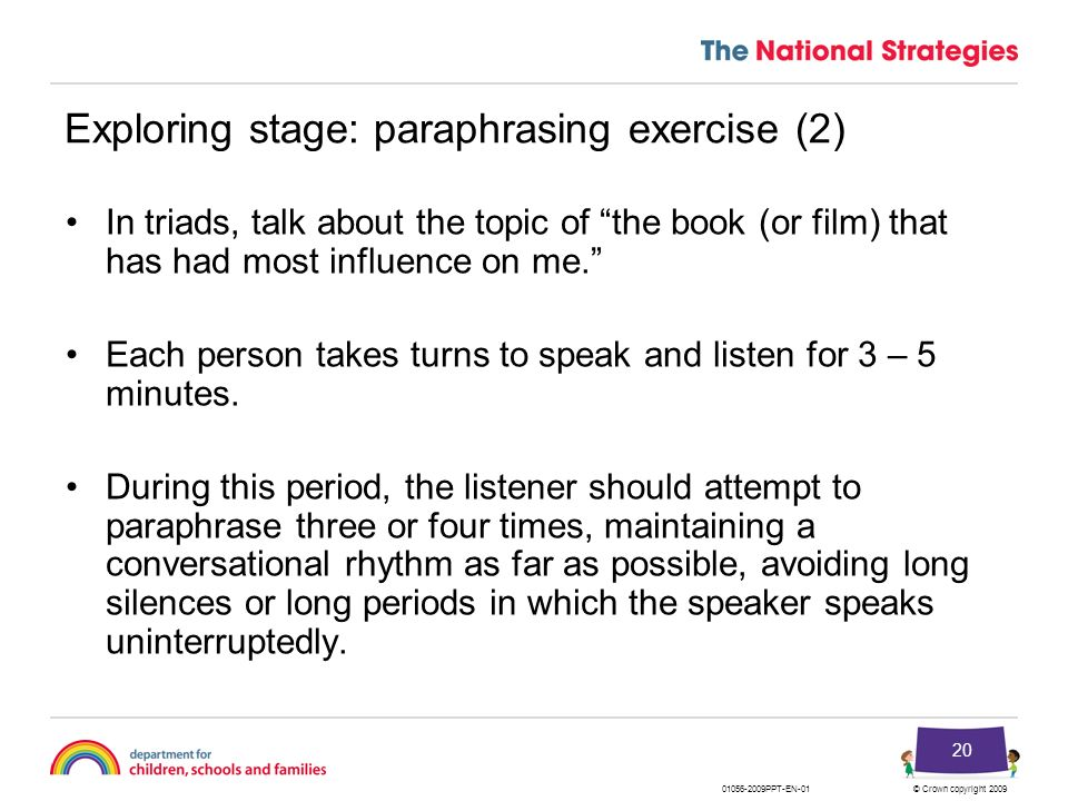 Exploring stage: paraphrasing exercise (2)
