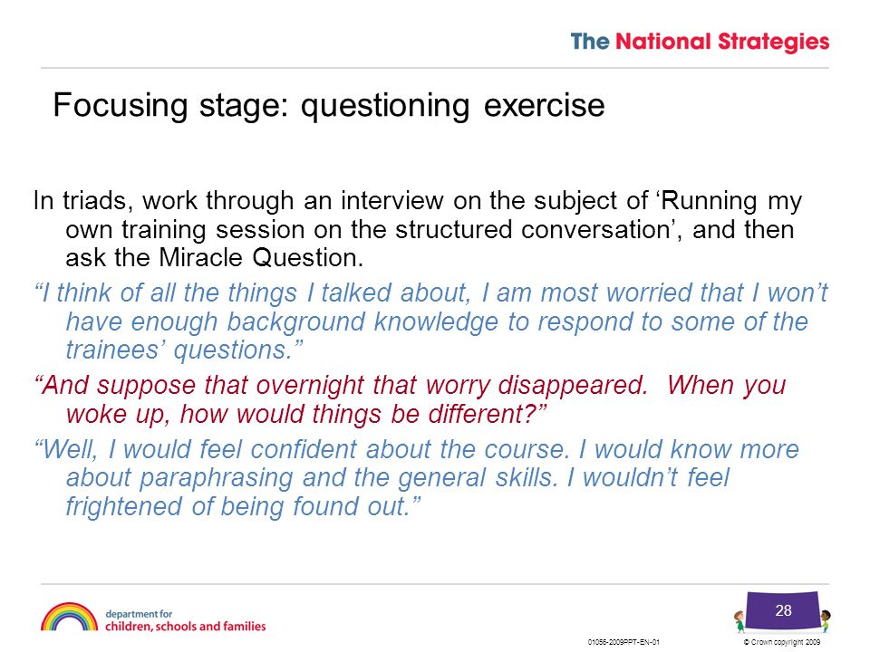 Focusing stage: questioning exercise