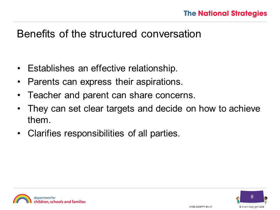 Benefits of the structured conversation