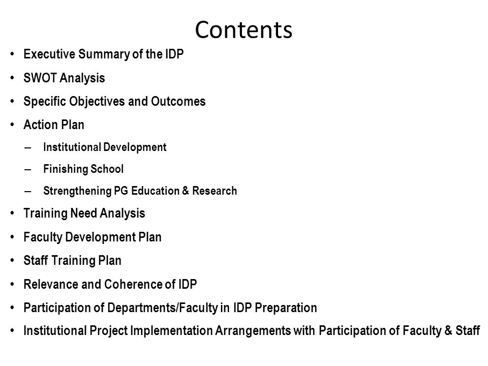 Contents Executive Summary of the IDP SWOT Analysis